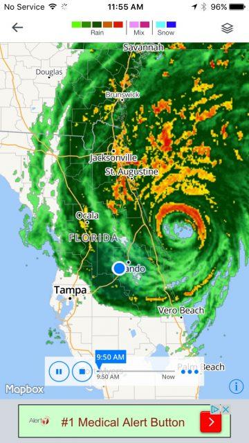Hurricane Matthew radar view