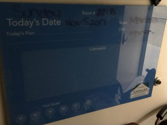 Nursing home info board