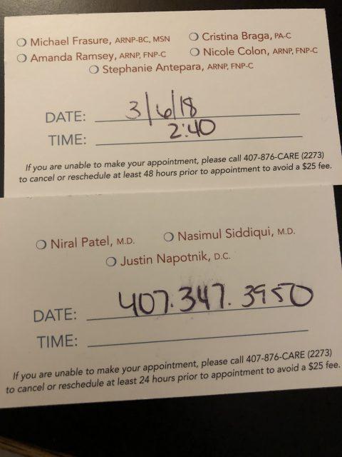 medical appoint reminder card