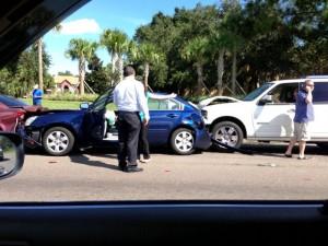 photo of four car pileup