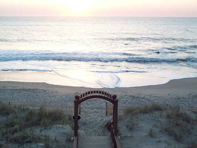 photo of ceremonial arch at beach