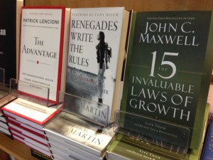 photo of three best selling leadership books at airport bookstore