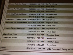 UPS tracking chart for iPhone 5 coming from China to Orlando