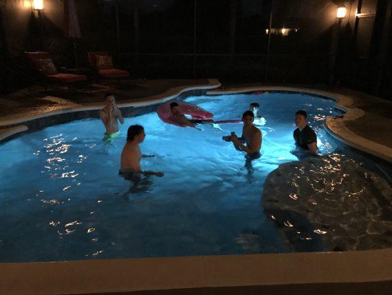 Night time swimming in Orlando