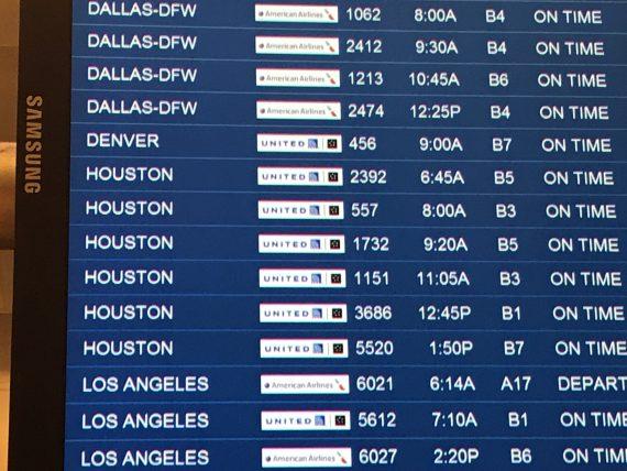 Departing flights board