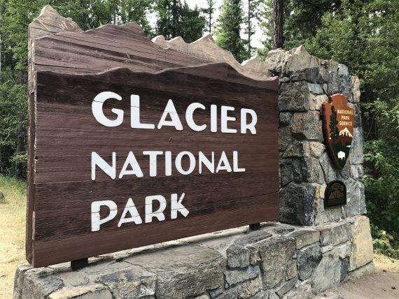Glacier National Park entrance sign