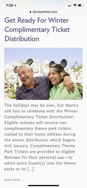 Disney Retiree benefits