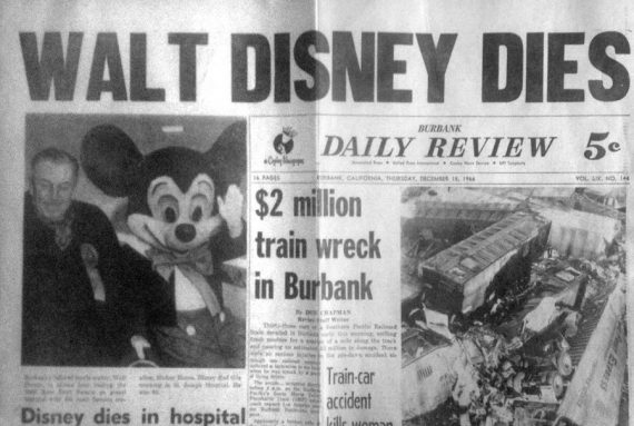Walt Disney death announcement