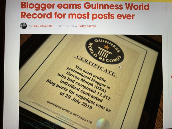 World record blog posts from one author