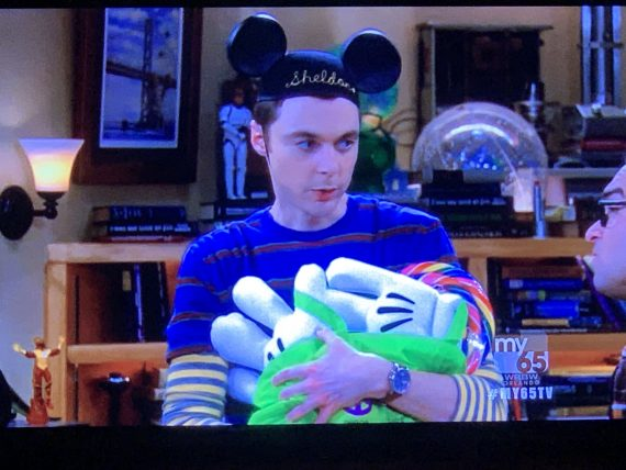 Sheldon Cooper with Mickey Mouse Ears and gloves