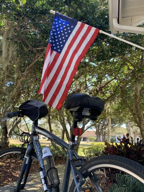 Bicycle and American flag