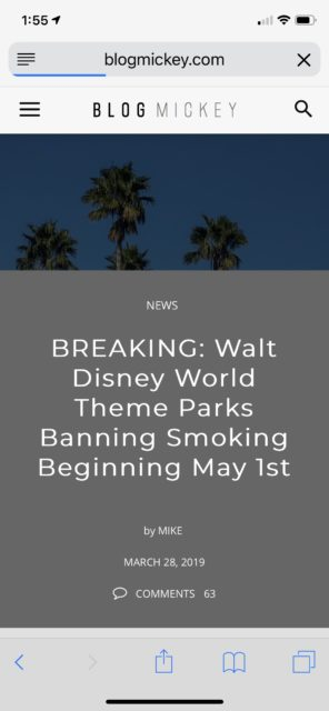 no smoking at Walt Disney World announcement