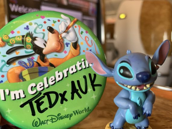 Disney button and Stitch toy