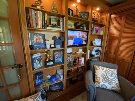 Disney Speaker's home office bookshelf