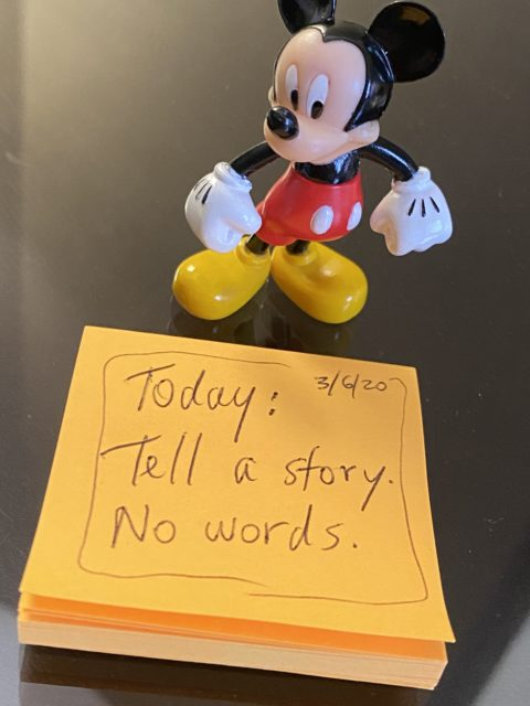 Mickey Mouse toy and jeff noel saying