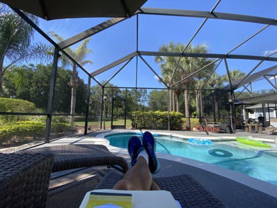 sitting poolside in Orlando