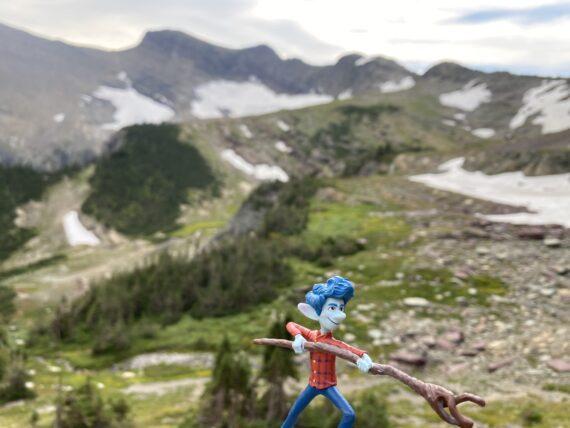 Pixar Onward toy in mountain setting