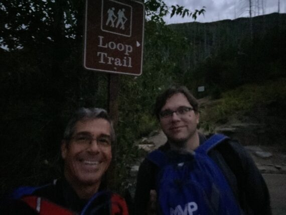 Jeff noel and Jody Maberry hiking in Glacier