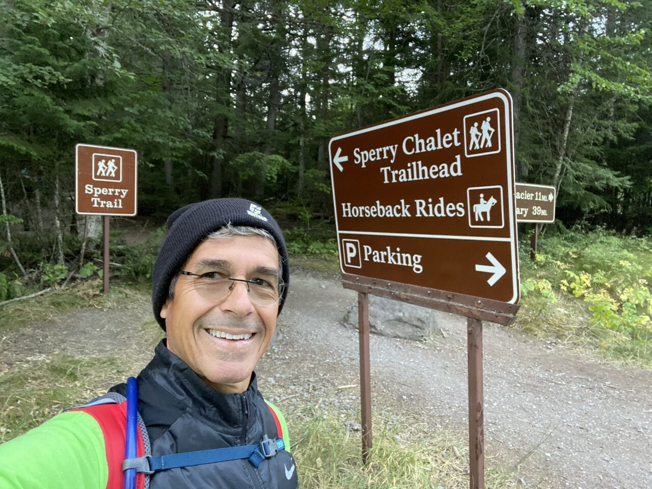 Jeff noel at trail sign