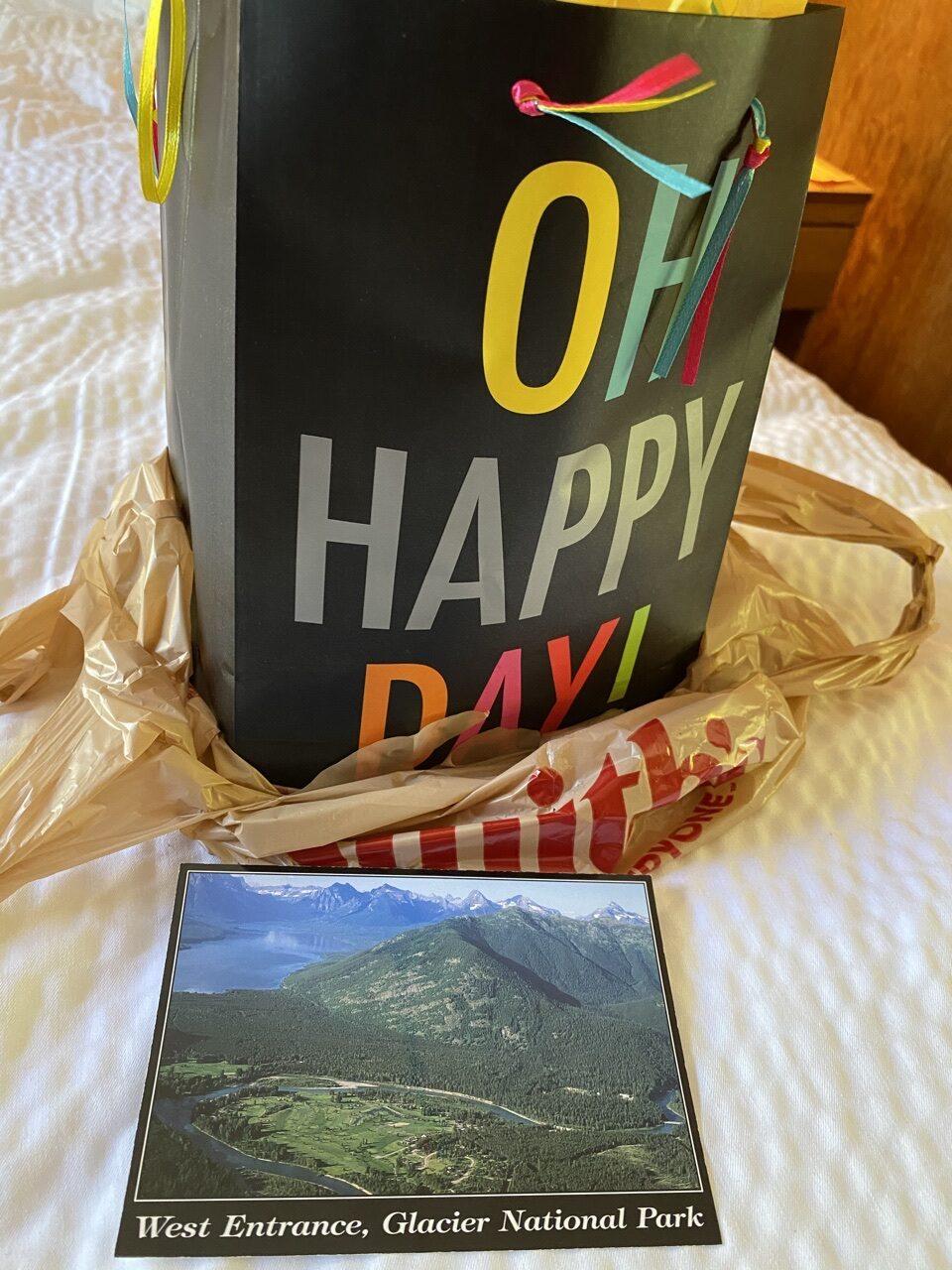 gift bag and postcard
