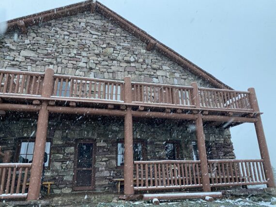 Mountain Chalet and snow