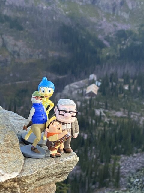 Disney Pixar characters in mountain setting