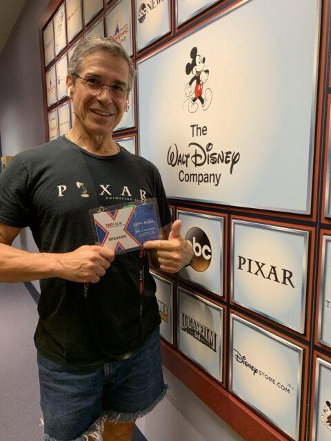 Man in Pixar T-shirt