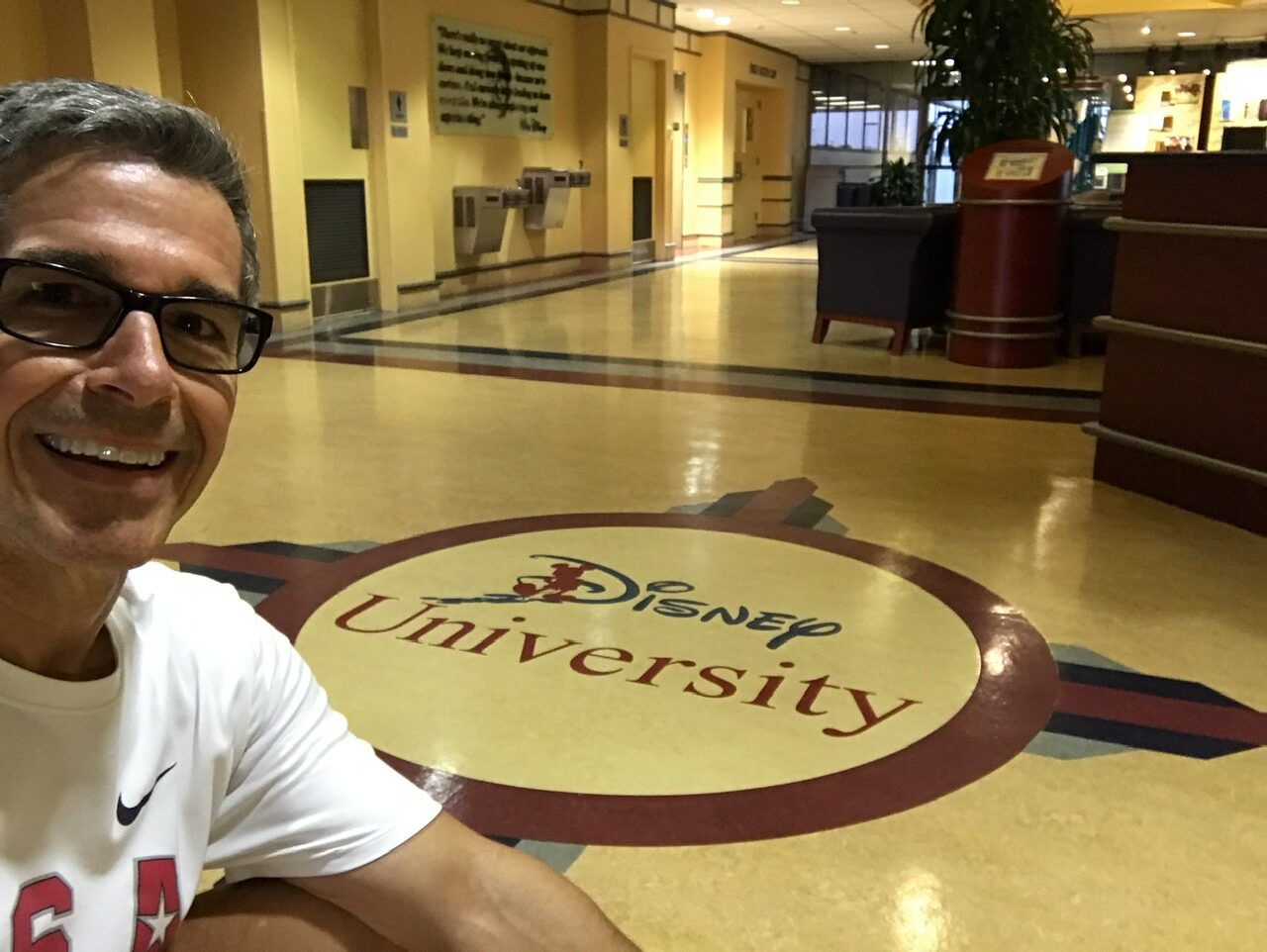 Man at Disney University lobby