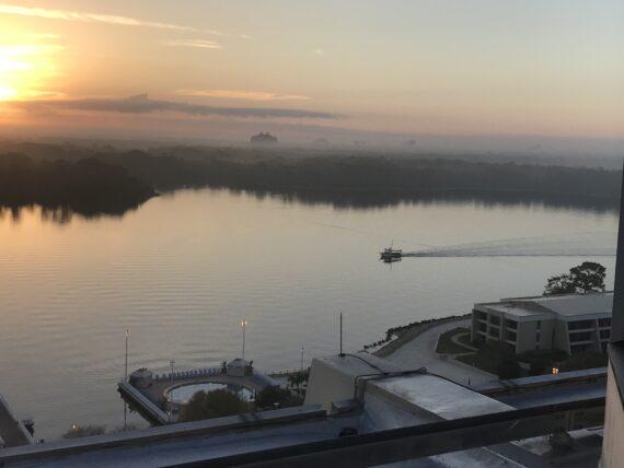 Disney lake at sunrise