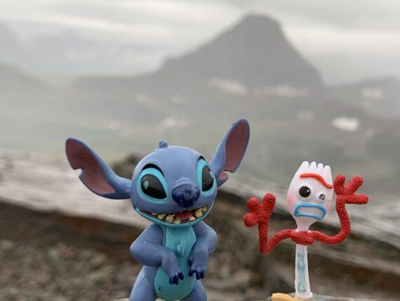 Disney toys in mountains