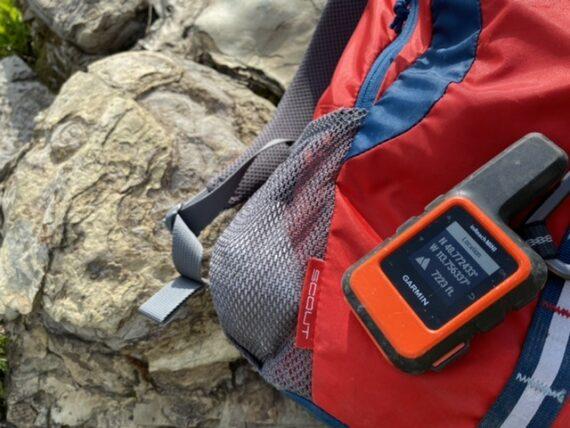 Garmin GPS mini on a backpack