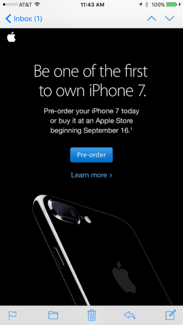 iPhone 7 announcement from 2016