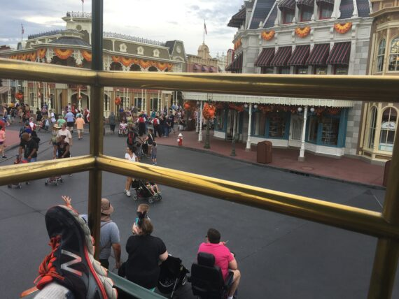 view of Town Square from Magic Kingdom double-decker bus