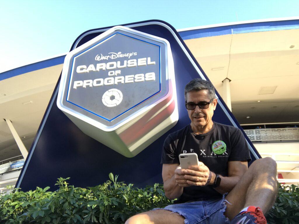 Disney author Jeff Noel on iPhone at Carousel of Progress