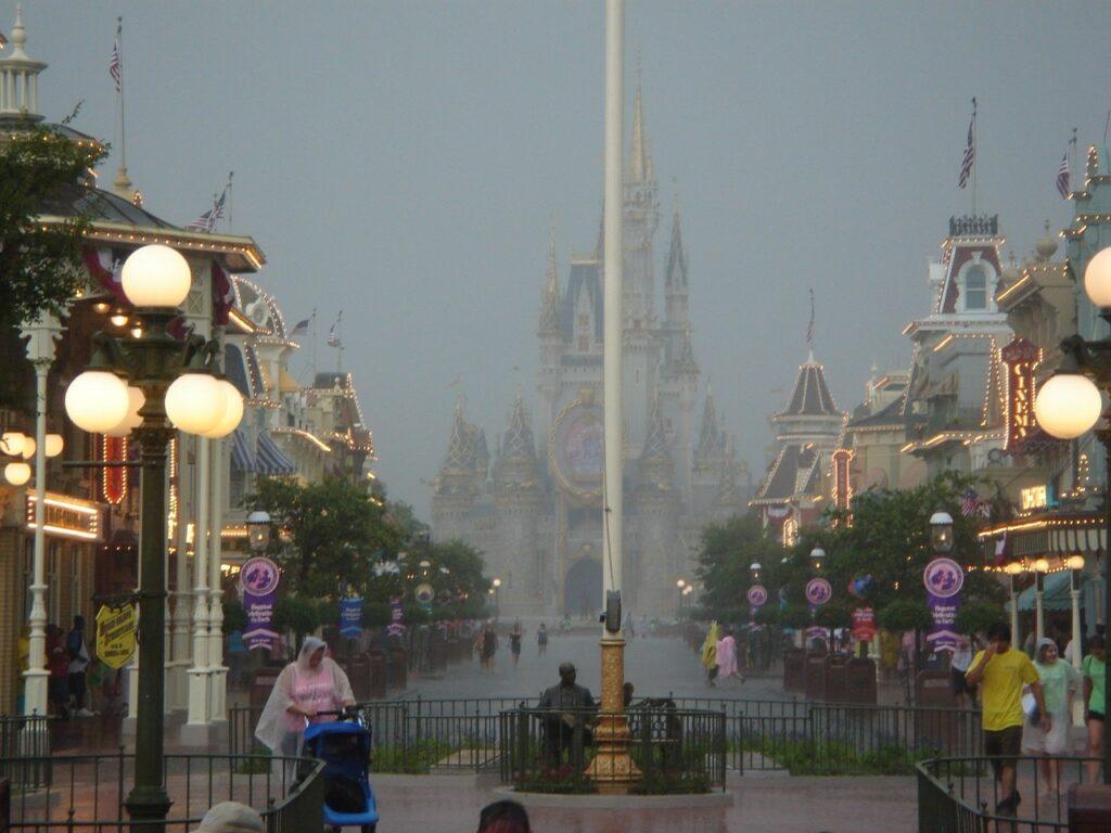 Main Street at Disney in the rain